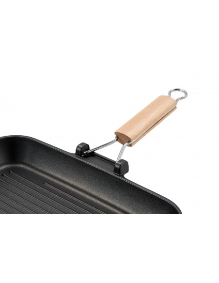 PENTOLE E PADELLE: vendita online Barazzoni Bistecchiera in alluminio pressofuso con manico in legno cm 35x25 Gli speciali in...