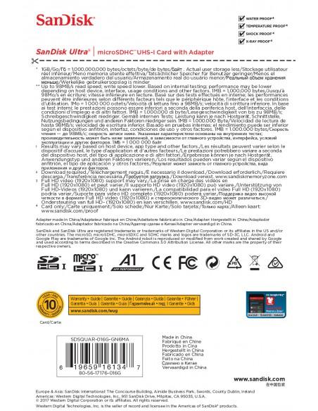SCHEDE DI MEMORIA: vendita online Sandisk Ultra memoria flash 16 GB MicroSDHC Classe 10 UHS-I in offerta