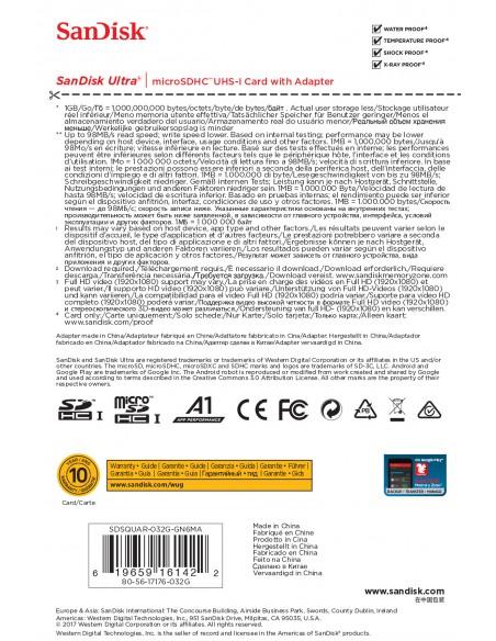 SCHEDE DI MEMORIA: vendita online Sandisk Ultra memoria flash 32 GB MicroSDHC Classe 10 UHS-I in offerta
