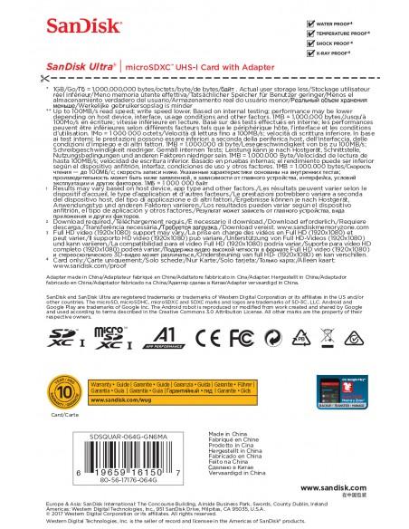 SCHEDE DI MEMORIA: vendita online Sandisk Ultra memoria flash 64 GB MicroSDXC Classe 10 UHS-I in offerta