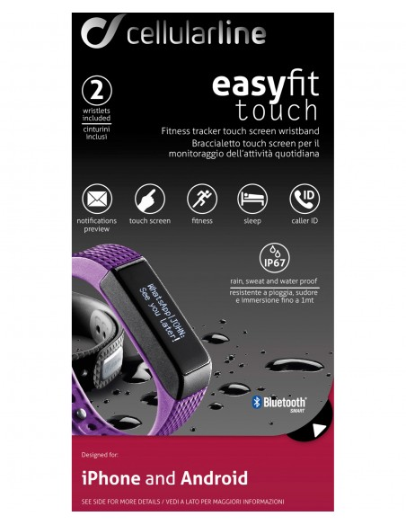 SPORTWATCH: vendita online Cellularline Easy Fit Touch - Universale Fitness tracker con display touch screen Viola Nero in of...