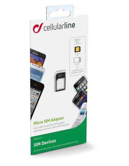 CAVI E ADATTATORI: vendita online Cellularline Micro Sim Adapter Adattatore a Micro SIM a SIM Nero in offerta