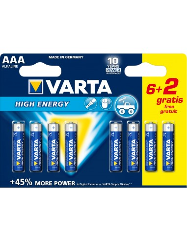 BATTERIE: vendita online Varta High Energy AAA 6+2pcs Batteria monouso Mini Stilo AAA Alcalino in offerta