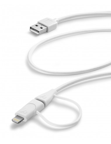 CAVI E ADATTATORI: vendita online Cellularline USB Data Cable Dual - Lightning & Micro USB Un cavo solo per Apple lightning e...
