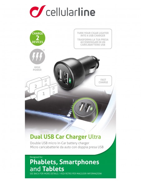 CARICABATTERIE: vendita online Cellularline USB Car Charger Dual Ultra - Fast Charge Universale Caricabatterie veloce a 15W p...