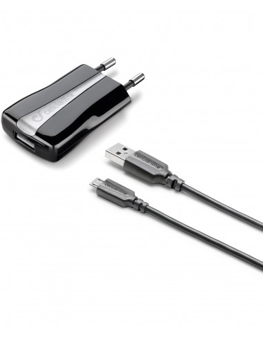 CARICABATTERIE: vendita online Cellularline USB Charger Kit - Micro USB Cavo e caricabatterie 5W in un'unica soluzione Nero i...