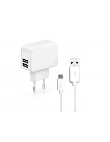 CARICABATTERIE: vendita online SBS TEKITIPTRAV1AW Caricabatterie per dispositivi mobili Bianco Interno, Esterno in offerta