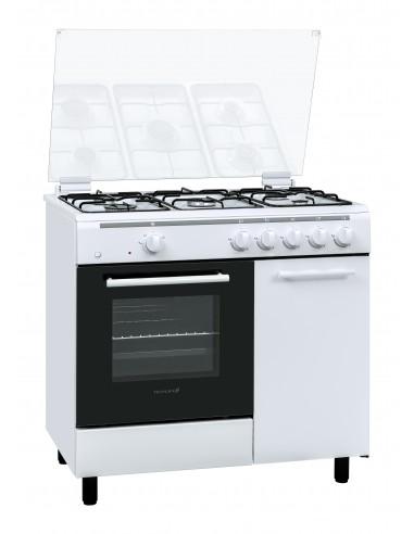 CUCINE CON FORNO A GAS: vendita online Techlife TLCK96FGGEB cucina Piano cottura Gas Bianco in offerta