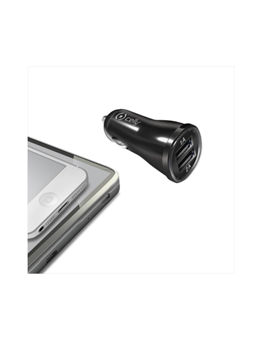 CARICABATTERIE: vendita online CELLY CCUSB22 CAR CHARGER 2.1A CON 2 USB BK in offerta