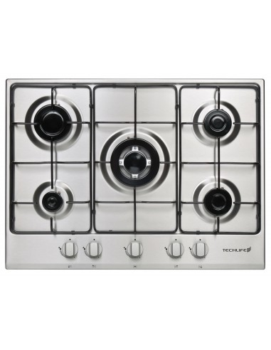 PIANI COTTURA A GAS: vendita online Techlife TLBIPC70X piano cottura Acciaio inossidabile Da incasso 70 cm Gas 5 Fornello(i) ...
